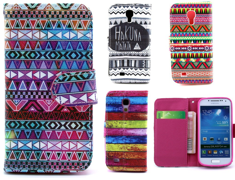 Deluxe Vintage Aztec Tribal Tattoo soft tpu case cover For Samsung Galaxy S4 mini i9190 PU Leather Money Clip Card Holder Wallet(China (Mainland))