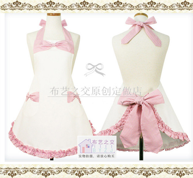 Korean Woman White Cotton Apron with Lattic Bow-Tie Ruffled Salon Apron Avental de Cozinha Divertido Tablier Cuisine Pinafore(China (Mainland))