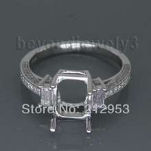 Vintage Emerald Cut 7x9mm Solid Platinum PT900 Setting Engagement Ring SR168(China (Mainland))