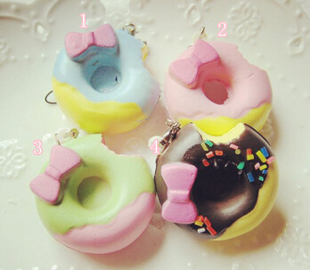 Free Shipping Kawaii Bow Donut Squishy Buns,Squishy Charm/Mobile Pendant/Mobile Phone Chain Wholesale