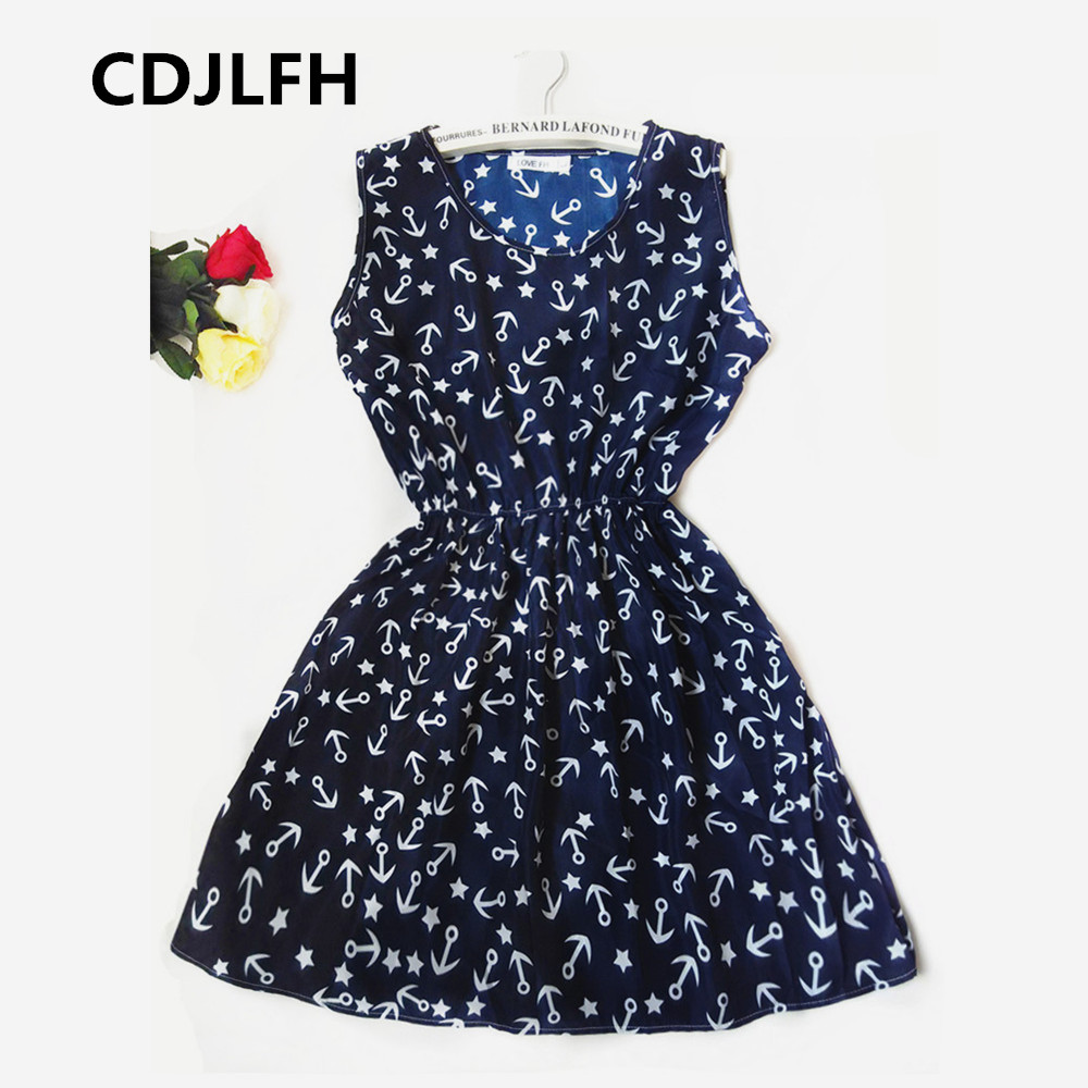 CDJLFH Brand Blue stars 20 Colors Fashion Women Sleeveless Florals Print Round Neck Dress 2016 Saias Femininas Summer Clothing(China (Mainland))