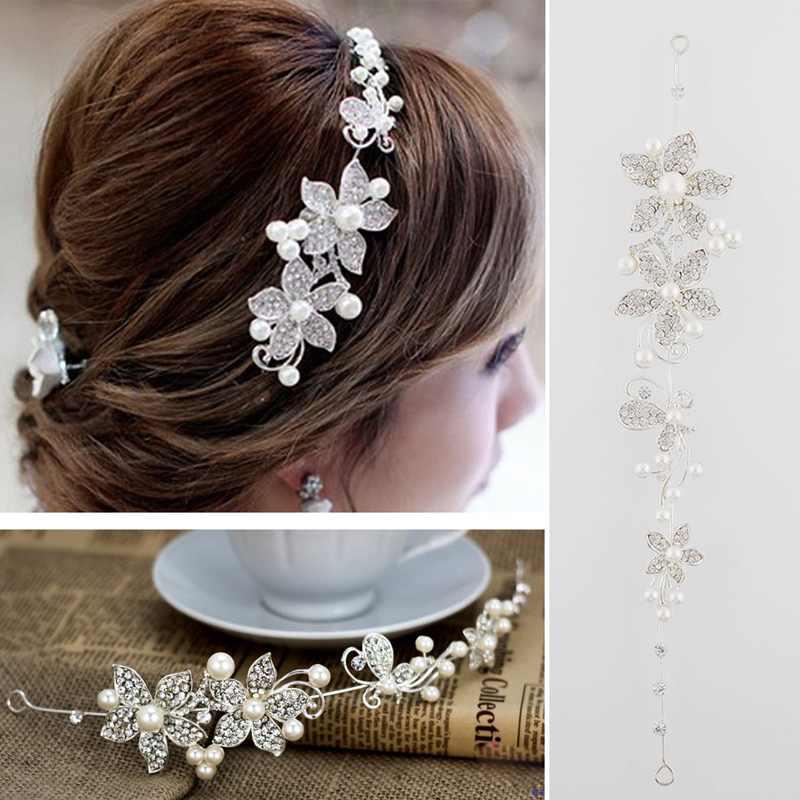 Women Lady Rhinestone Pearl Flower Wedding Bridal Headband Hair Band Tiara Gift(China (Mainland))
