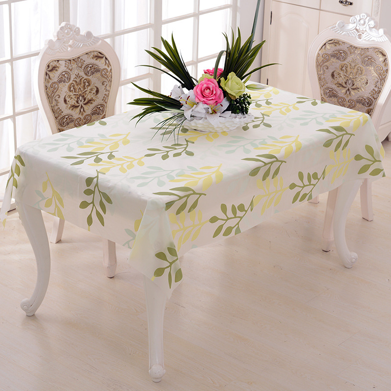 Colorful PEVA Oil Waterproof Table Cover Dining Table Cloth Spread Rectangular 180x130cm Translucent Frosted Leaves 2 Colors(China (Mainland))