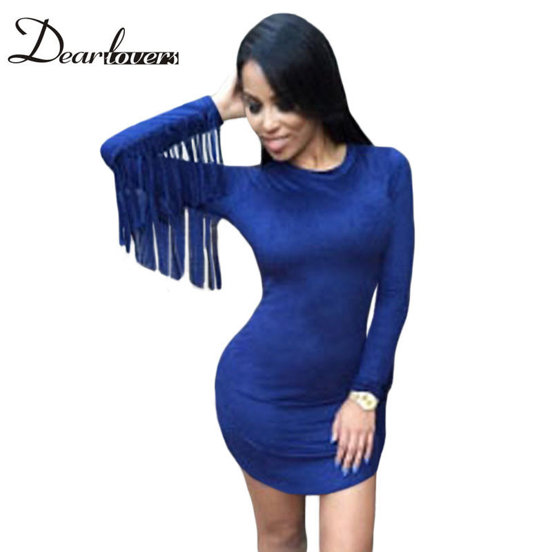 Dear lover Navy Fringed Long Sleeves Faux Suede Mini Dresses LC22488 Sexy women Tassel night party dress autumn winter 2016(China (Mainland))