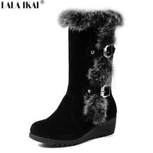 LALA IKAI Mujeres Botas de Invierno A Mediados de la Pantorrilla Botas de Nieve Caliente de la Piel Hebilla del cinturón de Algodón Zapatos de Mujer Zapatos de Invierno Cuña bota mujer XWN0062-5(China (Mainland))