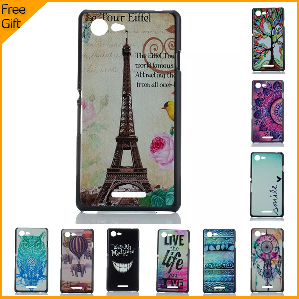 Luxury Ultra Thin 3D Cartoon Pattern Cell Phone Case Cover For Sony Xperia E3 Dual Sim D2203 D2212 Cases Hard Shell Back Cover(China (Mainland))
