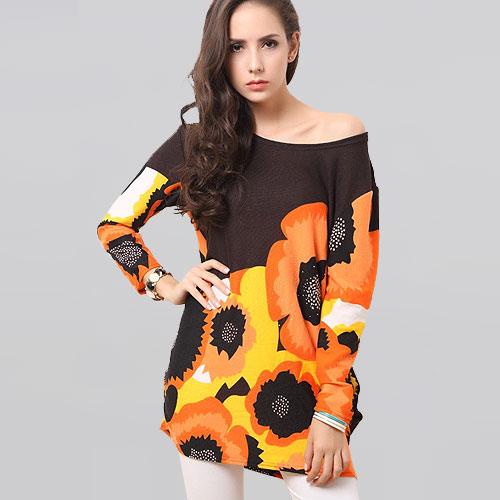 Women Fashion Print Orange Big Petal Mini Dresses Long Sleeve Autumn Winter Dress 2014 New Design Casual Wear Clothing Plus size(China (Mainland))