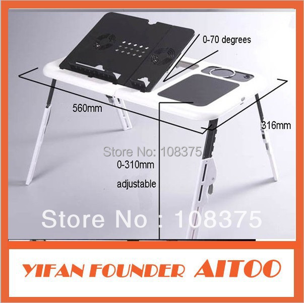 New Portable Flexible Folding Latop Table Adjust Notebook Desk With Built-in Cooling Fan Perfect For Bed Sofa Car(China (Mainland))