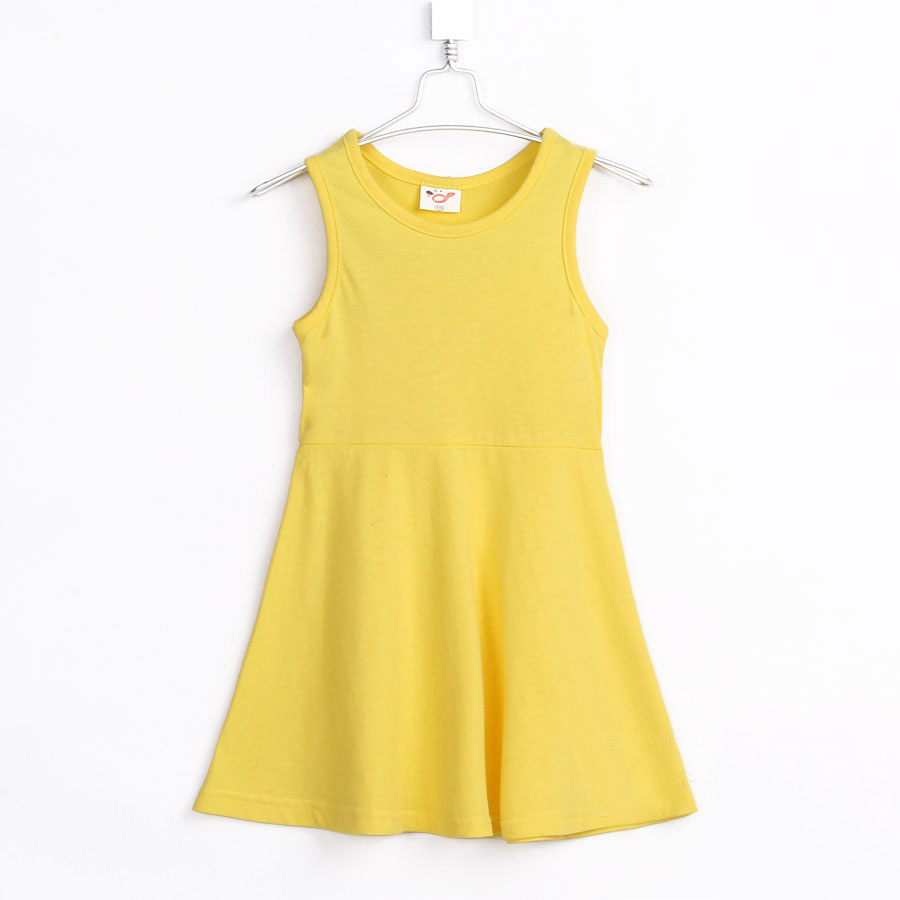 2015 summer solid pattern little girls brief style sleeveless big swing dress A1482(China (Mainland))
