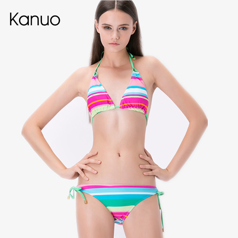 colorful striped bikini set sexy strappy bra briefs ...
