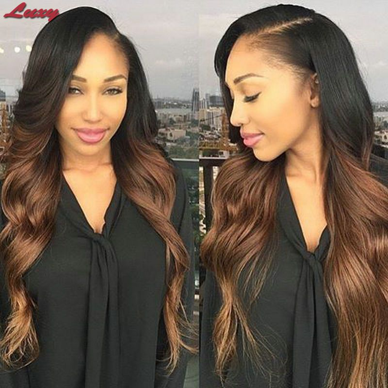Middle Part Lace Front Wigs/Glueless Full Lace Human Hair Wigs Two Tone Ombre Lace Wig Peruvian Wavy Wigs With Baby Hair