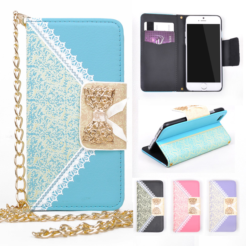 For iPhone 6s Case Luxury Lady Butterfly Knot Lace Bow Leather Wallet Stand Case + Metal Chain Phone Bags For iPhone 6 Flip Case(China (Mainland))
