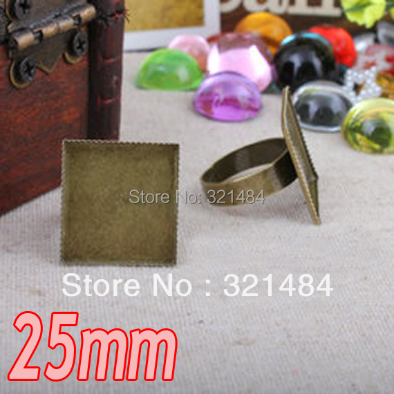 200pcs Antique bronze brass metal adjustable RING BLANK BASE TRAY BEZEL 25mm square teeth edge cabochon setting