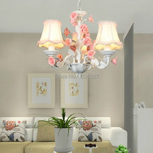 Children Lighting 3L D450MM H400MM  Light Romantic Floral Roses Personality IKEA Bedroom Decor E14 Chandelier(China (Mainland))