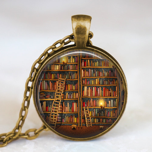 2014 Fashion Vintage Library and Books Pendant Necklace Book Lover Pendant Books Jewelry Best Gift(China (Mainland))