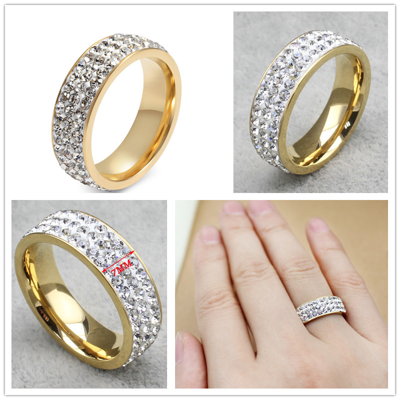 2016 fashion Jewelry trendy Style Size 6 7 8 9 10 11 12 13 14 full crystal Ring Gold Plated Rings For Men Women Lover's Ring(China (Mainland))