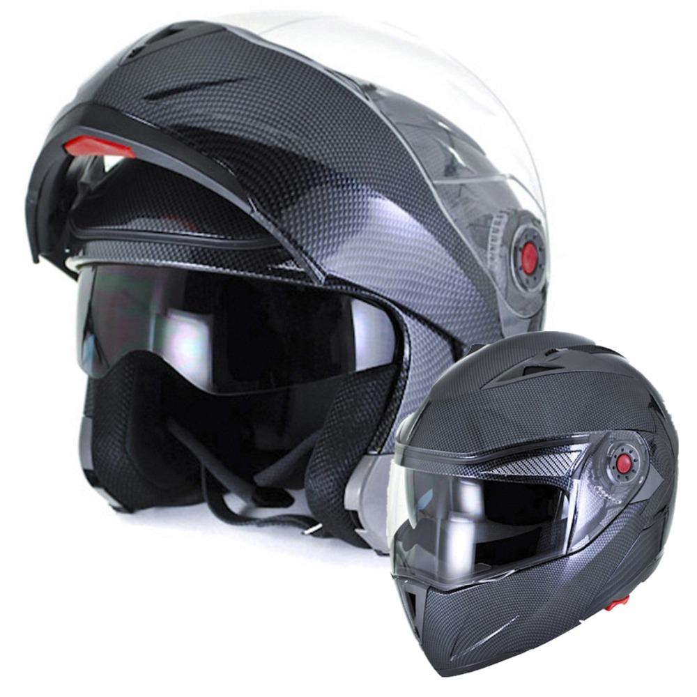 Carbon Fiber Motorcycle Helmet >> 2016 ILM Motorcycle Helmet DOT Approved Carbon Fiber With Inner Sun Visor Flip Up Dual Visor ...