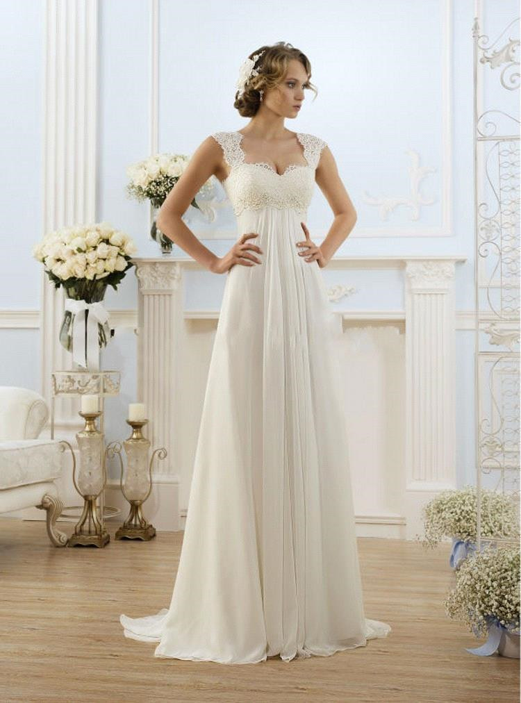 2015 New Sexy Beach Empire Plus Size Wedding Dresses Cap Sleeve Lace Up Chiffon Summer Pregnant