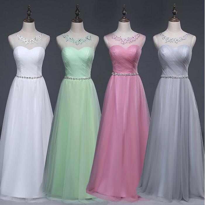 Modest simple elegant blush bridesmaid ball gown long for Modest elegant wedding dresses