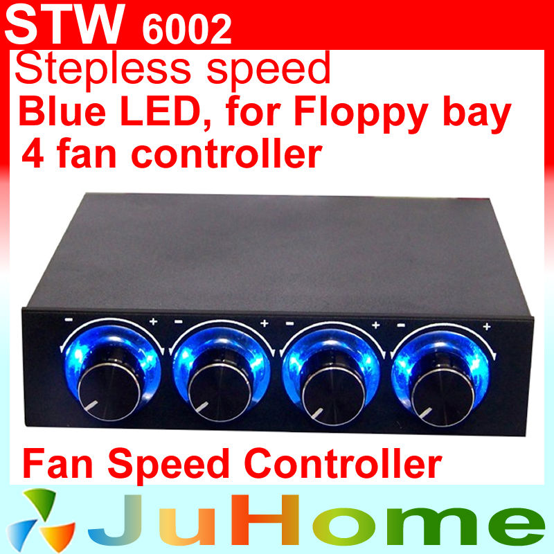 4 CPU fan speed controller, floppy position, blue LED light, 4 channel, CPU fan speed controller, 4pin 3pin 2pin, STW 6002(China (Mainland))