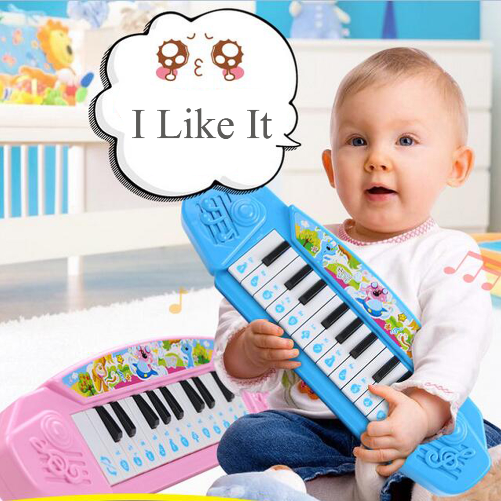 13 Keys Piano Baby Mini Electronic Keyboard Music Toy Cartoon Baby Piano Toy Gift Pink/Blue for Children Kids Beginners(China (Mainland))