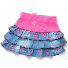 Girls Denim Skirts children embroidery kids mini Party Jeans tutu Skirts baby christmas clothing MH2241