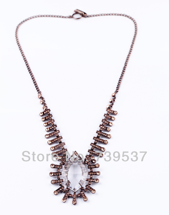 Hot Selling Clear Big Glass Water-drop Pendant Necklace Brown Alloy Chain Retro Long Necklace For Party(China (Mainland))