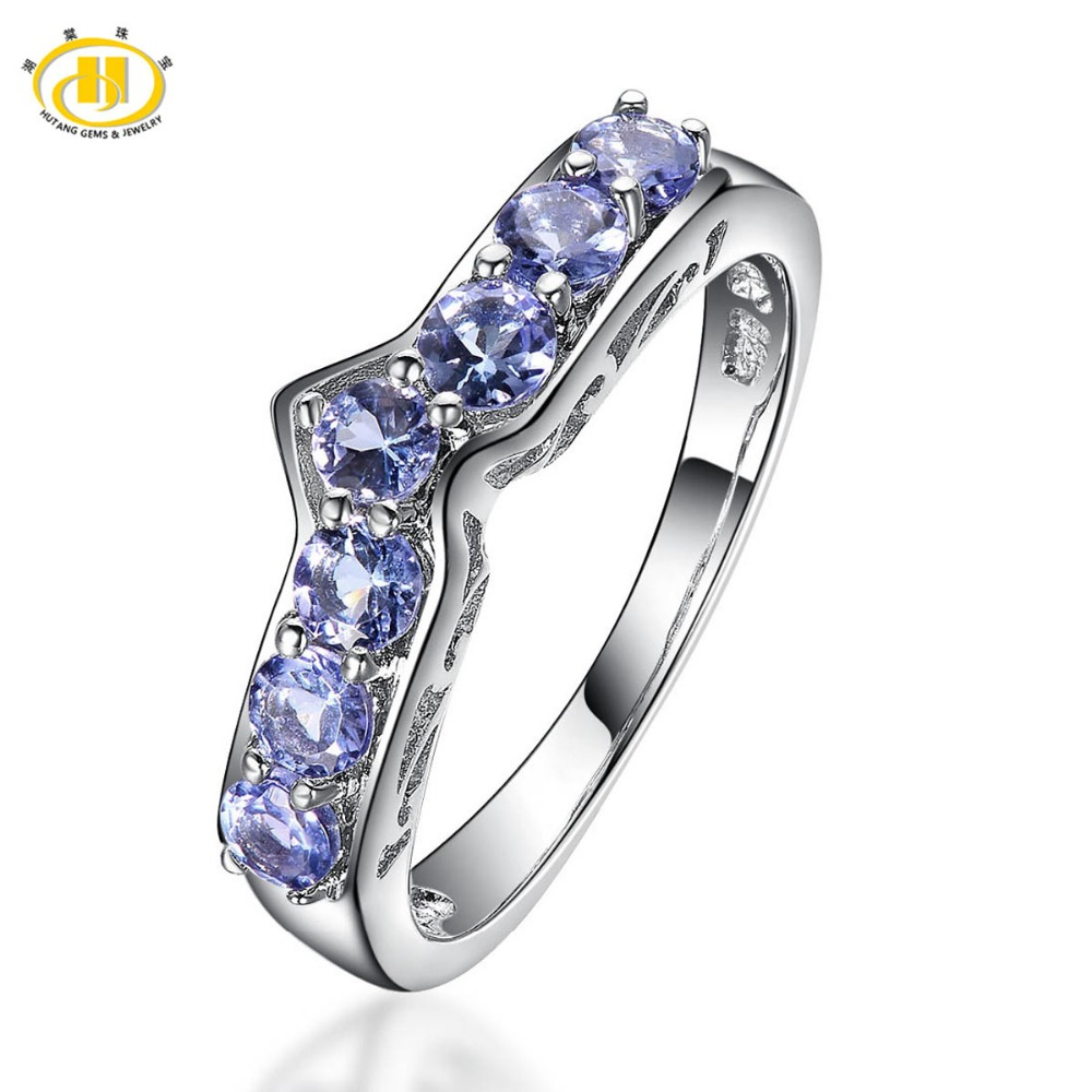 Hutang Natural Tanzanite Promise Ring Solid 925 Sterling Silver Gemstone Fine Jewelry For Women's Wedding Engagement Bridal Gift(China (Mainland))