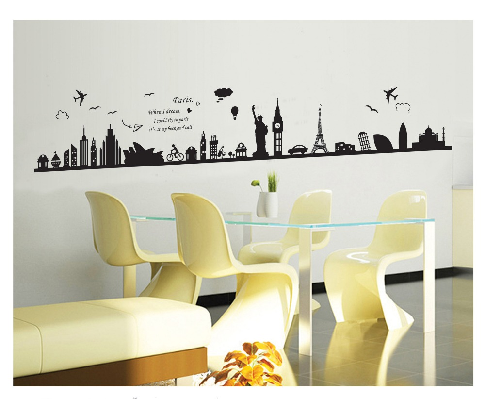High Quality Burj Dubai Removable Pvc Wall Sticker Decals Removable Pvc Home Decor Bedroom Home