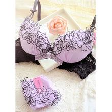 Japanese Fashion Purple Lace Rose Floral Appliques Bra and Panties Set Lingerie Victoria Ensemble Femme Triangle Lace Bra N117