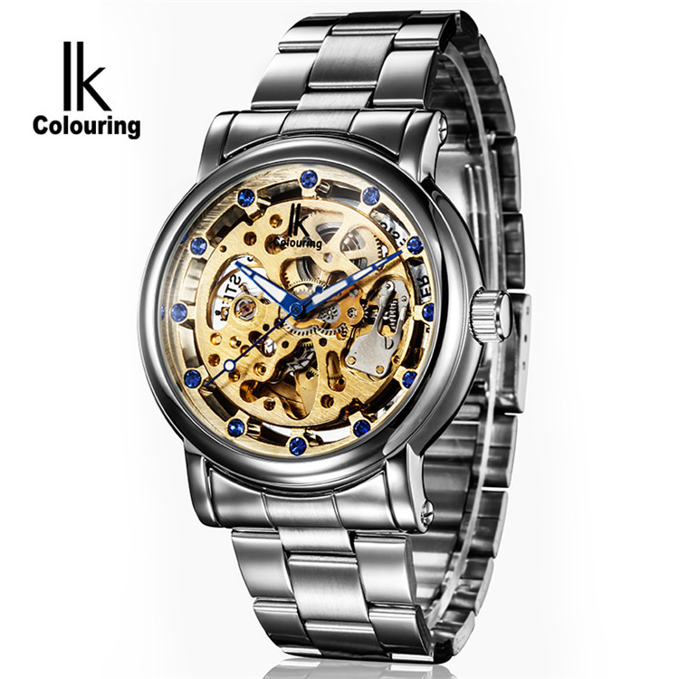 New 2014 IK Colouring Fashion Mechanical Skeleton Watch Auto Stainless Steel Mens Watches Wristwatch Free Ship<br><br>Aliexpress