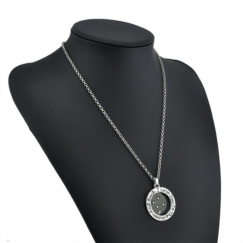 David Kabel women round charm pendant necklace bijoux femme erkek kolye colgantes mujer moda I love you to Moon&Back(China (Mainland))
