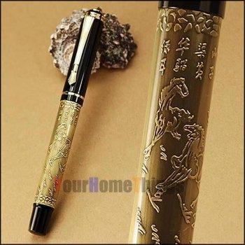 """Baoer 507 High Quality  Xubeihong """"The Eight Horses"""" Embossing Roller Ball Pen Best Gift Design +1 Free Refill/Rods"""