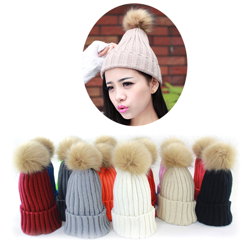 High Quality Warm Braided gorros Crochet Knitting Hat with Cute Hairball Girl Beret Ski Beanie Cap gorros de lana mujer(China (Mainland))