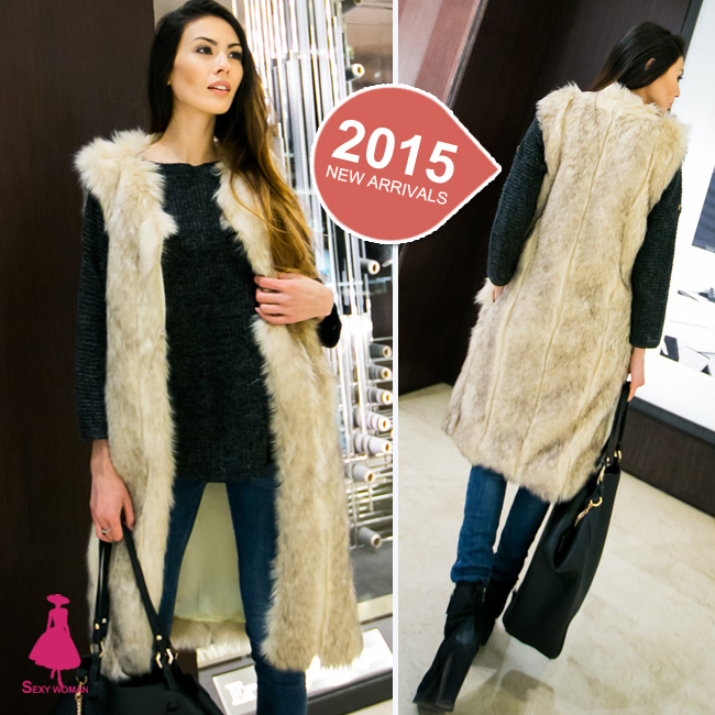 2015 Fashion Women Hairy Shaggy Faux Wool Fox Fur Cardigan Long Trench Vest Coat Outerwear New Arrivals SUPER QUALITY!! - Sexy Woman Line store
