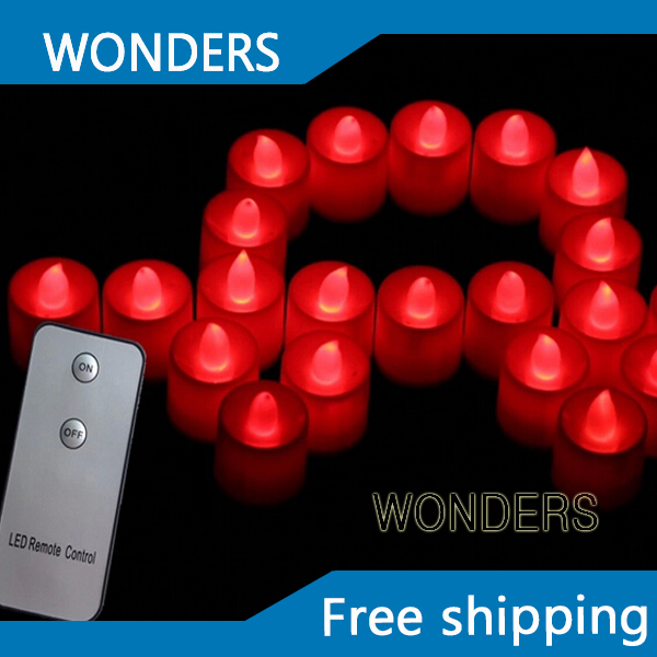 Free Shipping (12pcs) red color Tealight Candle Remote Control Candle LED Candle Light wedding party decoration(China (Mainland))