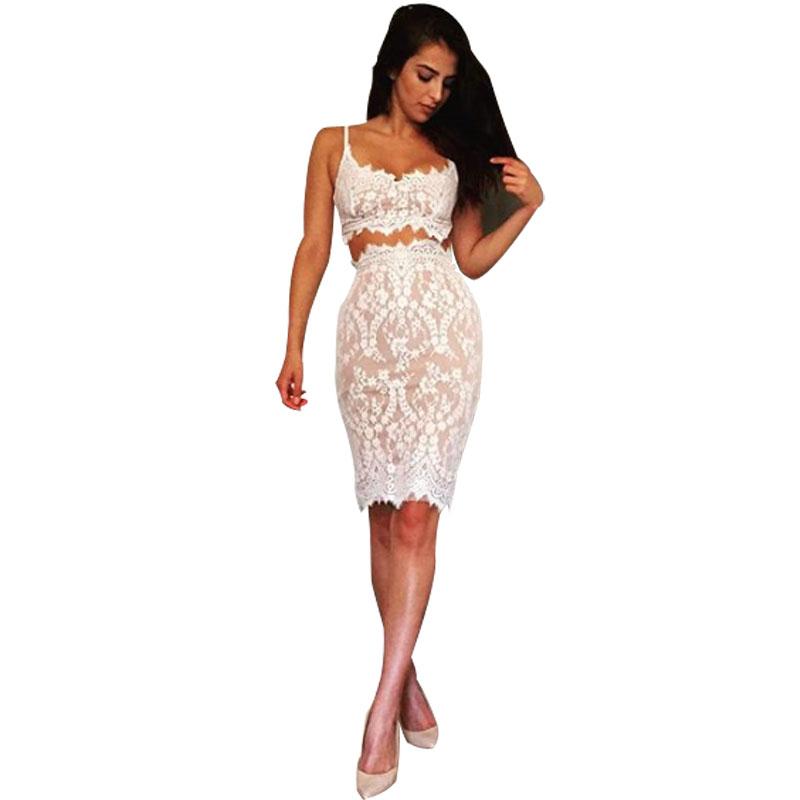 Hot Sale 2 Piece Set Dress V Neck Vintage abiti donna estivi 2016 Women Spaghetti Strap Lace Dress Sleeves White Dress Styles(China (Mainland))