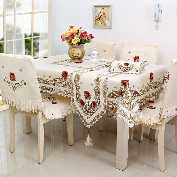 """Hot 72*108"""" Quality Luxury Polyester Floral Embroidery Tablecloth Satin Embroidered Wedding Table Towel Cloth Cover Textiles(China (Mainland))"""