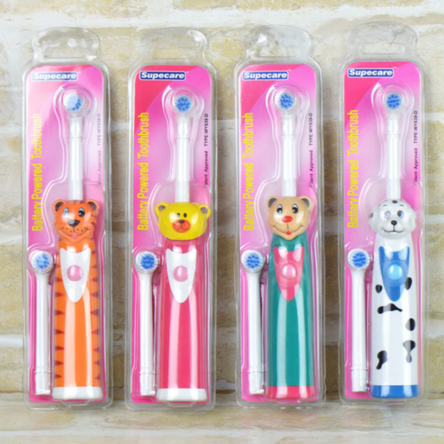 Cute 3D Cartoon Patern Children Kid Electric Toothbrush + 2pcs Toothbrush Head Replacement(China (Mainland))