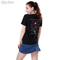 Qlychee Casual Spring Women T shirt Rose Floral Print Short Sleeve T shirt Loose Lady Tee