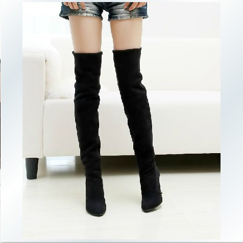 US 4-12 big size Fashion Jackboots Over The Knee Boots For Women Faux Suede Upper Stretch Fabric Slim Boots Free shipping