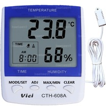 VICHY CTH-608A High-accuracy LCD Digital Thermometer Hygrometer Electronic Temperature Humidity Meter Clock Weather Station Indo - bestsav1 store