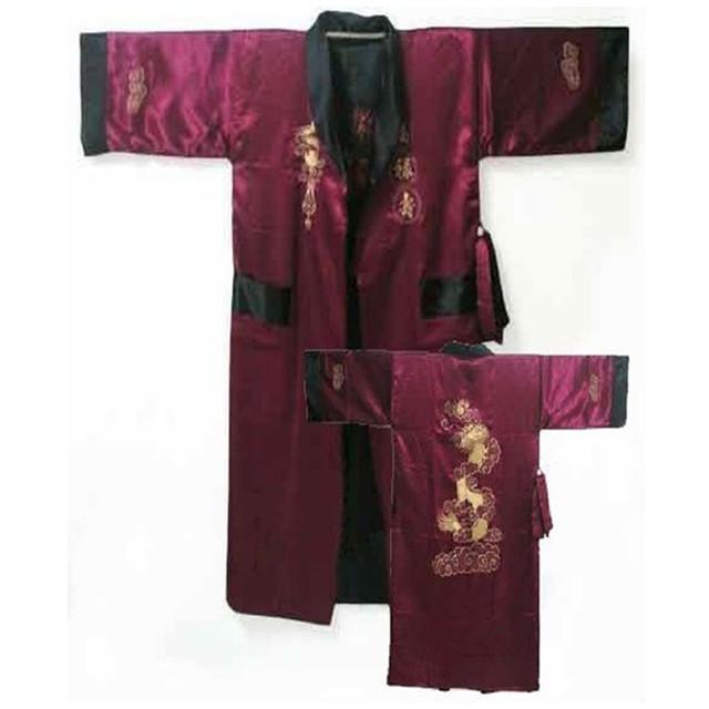 Бургундия черный реверсивные китайских людей сатин - одеяние вышивка кимоно ванна ...