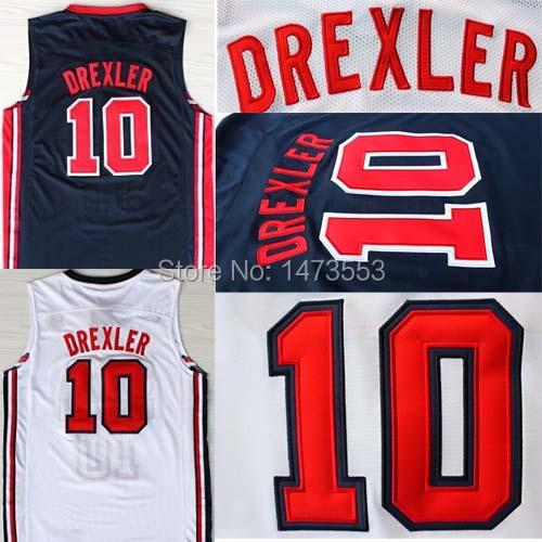 1992 Olympic Game American Team Basketball Jersey, #10 Clyde Drexler USA Jersey, Stitched Drexler Navy White Jersey, S-XXXL(China (Mainland))