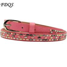 2016 New High Quality Rivet Belt Korean Fashion Cinto Feminino Lady Punch Beads Decorated PU Leather Thin Waist Belts For Women(China (Mainland))
