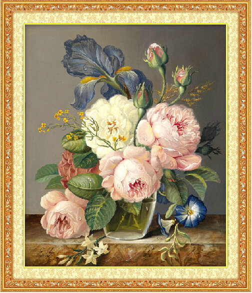 Needlework,DIY DMC Cross stitch,Sets For Embroidery kits, Peony Flower Patterns Oil Painting Cross-Stitching,Wall Home Decro(China (Mainland))