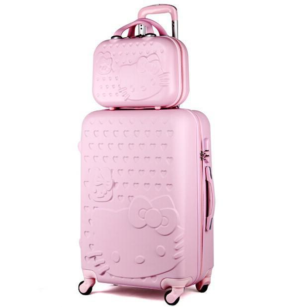 20,24 inch Hello Kitty Suitcase Set,Travel Bag Set,Spinner Rolling Luggage Set,ABS,Cartoon,Pink,Rose,Green,CA003(China (Mainland))
