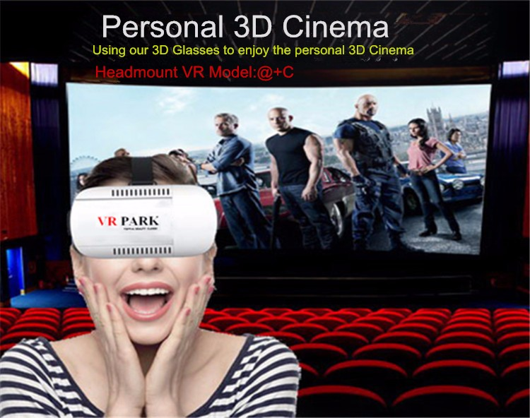 2016 NEW VR Park V3 Mobile 3D Movie Glasses Box Helmet 3 D Virtual Reality Goggles Cardboard +Smart Bluetooth Remote Controller