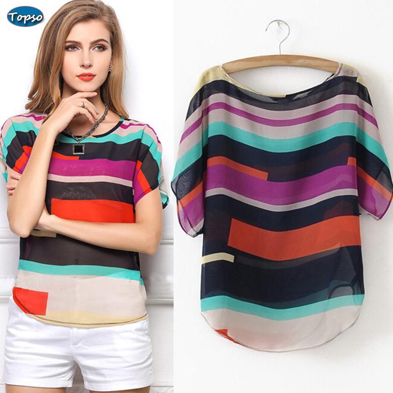Women Chiffon Top Blouse Multi-colour Striped Print Shirts Ladies Plus Size Short Sleeve Casual Loose Blusas Femininas XXXL - Topso Fashion Shop store