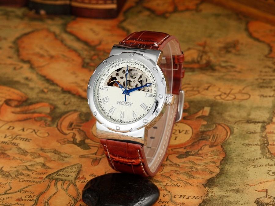 ГРУ марка кожа техника мужские Автоматические Часы мода Скелет мужские Наручные часы водонепроницаемый Световой цифровой